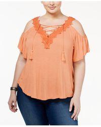 Jessica Simpson | Orange Trendy Plus Size Cold-shoulder Peasant Top | Lyst