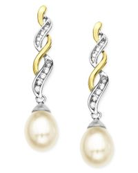 Macy's | Metallic 14k Gold And Sterling Silver Earrings, Cultured Freshwater Pearl And Diamond Accent | Lyst