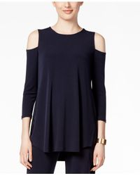 Alfani - Blue Cold-shoulder Top, Only At Macy's - Lyst