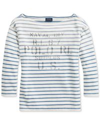 Polo Ralph Lauren - Blue Striped Boatneck Cotton Shirt - Lyst