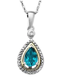 Macy's - 14k Gold And Sterling Silver Necklace, Blue Topaz (3/4 Ct. T.w.) And Diamond Accent Teardrop Pendant - Lyst