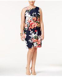 Charter Club | Blue Plus Size Floral-print Shift Dress | Lyst