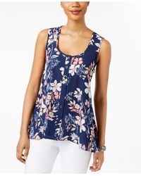 Style & Co.   Blue Petite Floral-print Button-front Blouse   Lyst