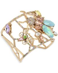 Betsey Johnson | Metallic Gold-tone Multi-stone Garden Motif Cuff Bracelet | Lyst