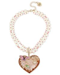 Betsey Johnson | Metallic Faux-pearl Multi-strand Heart Pendant Necklace | Lyst
