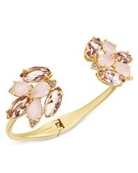 kate spade new york | Metallic Gold-tone Pink Stone And Crystal Cluster Hinged Cuff Bracelet | Lyst