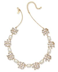 kate spade new york | Metallic Gold-tone Crystal & Imitation Pearl Collar Necklace | Lyst