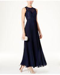 Xscape | Blue Long Chiffon Illusion Gown | Lyst