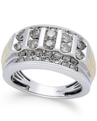 Macy's | Metallic Men's Diamond Cluster Two-tone Ring (2 Ct. T.w.) In 10k Gold And White Gold for Men | Lyst