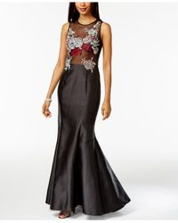 Xscape | Black Floral-print Embroidered Mermaid Dress | Lyst