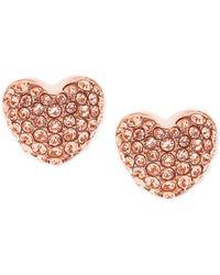 Michael Kors | Pink Pavé Heart Stud Earrings | Lyst