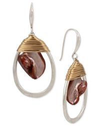 Robert Lee Morris | Metallic Two-tone Red Mother-of-pearl Stone Wrapped Drop Earrings | Lyst