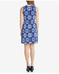 Karen Kane - Blue Printed A-line Dress - Lyst