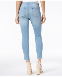 Maison Jules - Embroidered Medium Blue Wash Ankle Skinny Jeans - Lyst
