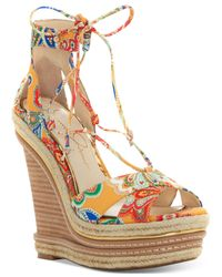 Jessica Simpson | Multicolor Adyson Lace-up Wedge Sandals | Lyst
