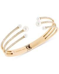 Michael Kors | Metallic Gold-tone Pavé Imitation Pearl Hinged Cuff Bracelet | Lyst