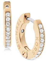 Michael Kors | Metallic Pavé Engraved Hoop Earrings | Lyst