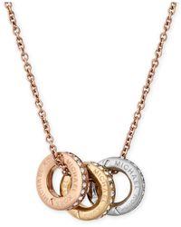 Michael Kors | Multicolor Tri-tone Pavé Multi-pendant Necklace | Lyst