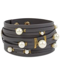 INC International Concepts - Gray Gold-tone Imitation Pearl Leather Wrap Bracelet - Lyst