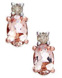 Macy's | Metallic Morganite (9/10 Ct. T.w.) And Diamond (1/10 Ct. T.w.) Drop Earrings In 14k Rose Gold | Lyst