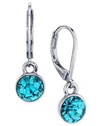 2028 | Metallic Silver-tone Round Crystal Drop Earrings | Lyst