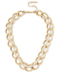 Kenneth Cole - Metallic Two-tone Crystal-braided Chain Necklace - Lyst