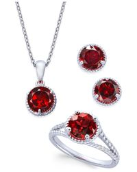 Macy's | Red Rhodolite Garnet Rope-style Pendant Necklace, Stud Earrings And Ring Set (5 Ct. T.w.) In Sterling Silver | Lyst