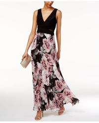 Xscape Black Printed Pleated Chiffon Gown