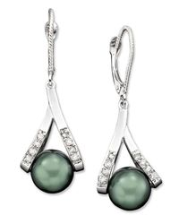 Macy's   Multicolor Cultured Tahitian Pearl And Diamond Accent Earrings In 14k Gold (8mm)   Lyst