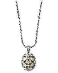 Effy Collection | Metallic Two-tone Geometric Oval Pendant Necklace In Sterling Silver And 18k Gold | Lyst