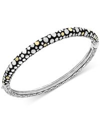 Effy Collection | Metallic Two-tone Dotted Skinny Bangle Bracelet In Sterling Silver And 18k Gold | Lyst
