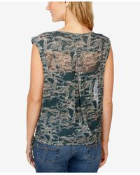 Lucky Brand - Green Sheer Floral-print Top - Lyst