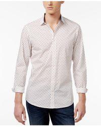 Michael Kors | White Men's Finn Slim-fit Shadowed Square Cotton Shirt for Men | Lyst