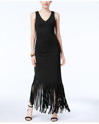 INC International Concepts Black Fringe-trim Maxi Dress