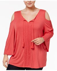 Style & Co. | Pink Plus Size Cold-shoulder Peasant Top | Lyst