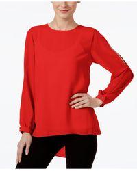 Vince Camuto | Red Printed Split-sleeve Top | Lyst