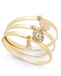 Charter Club - Metallic Rose Gold-tone 3-pc. Set Mom Charm Bangle Bracelets - Lyst