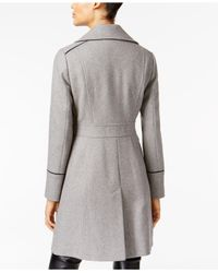 Vince Camuto - Gray Contrast-trim Double-breasted Peacoat - Lyst
