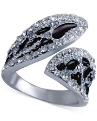 Guess | Metallic Crystal Animal-print Bypass Ring | Lyst