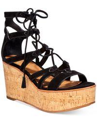 Frye | Black Women's Heather Gladiator Wedge Sandals | Lyst
