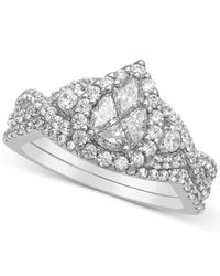 Macy's | Metallic Diamond Pear Cluster Engagement Ring (1-1/3 Ct. T.w.) In 14k White Gold | Lyst