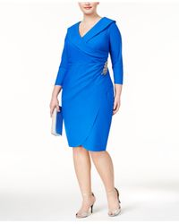 Alex Evenings | Blue Plus Size Embellished Faux-wrap Sheath Dress | Lyst