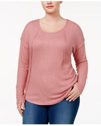 Almost Famous   Pink Trendy Plus Size Waffle-knit Top   Lyst