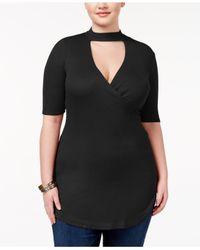 Almost Famous | Black Trendy Plus Size Mock-neck Cutout Top | Lyst