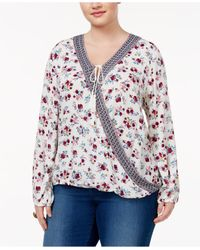 Almost Famous | Multicolor Trendy Plus Size Blouson Peasant Blouse | Lyst
