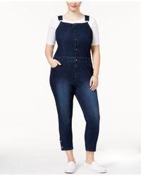 RACHEL Rachel Roy - Blue Trendy Plus Size Cropped Ultramarine Wash Overalls - Lyst
