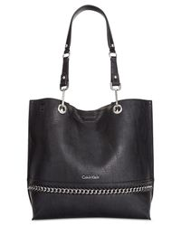 Calvin Klein - Black Chain Reversible Tote With Pouch - Lyst