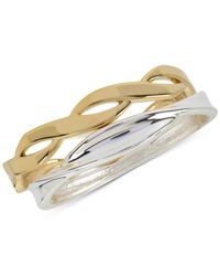 Touch Of Silver - Metallic Two-tone 2-pc. Set Bangle Bracelets In Fine Silver- And Gold-plate - Lyst