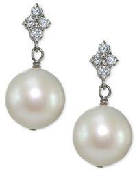 Giani Bernini - Metallic Freshwater Pearl (11mm) And Cubic Zirconia Drop Earrings In Sterling Silver - Lyst