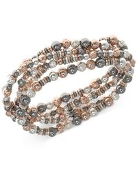 Nine West | Metallic Tri-tone Multi-row Beaded Stretch Bracelet | Lyst